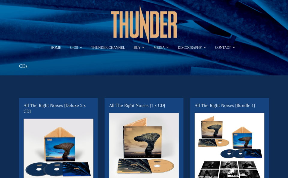 Thunder Online :: The Official Thunder Website – HOMEのWEBデザイン