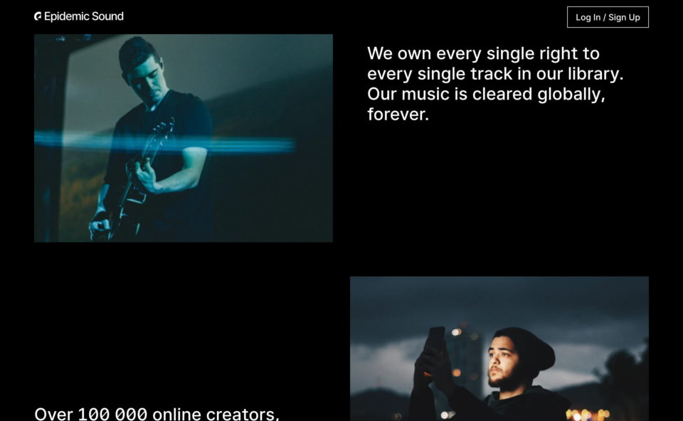Epidemic Sound – Royalty free music and sound effectsのWEBデザイン