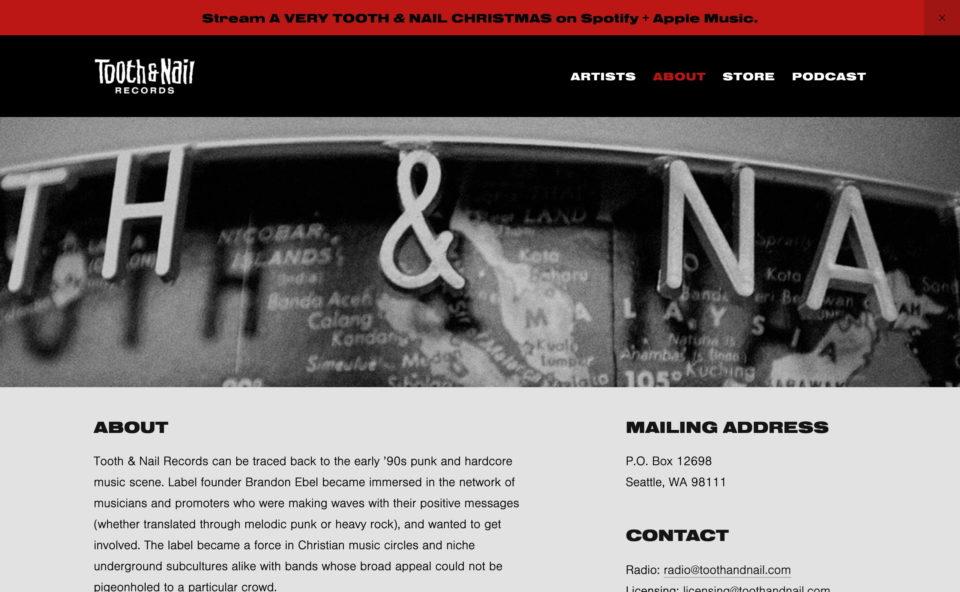 Tooth & Nail RecordsのWEBデザイン