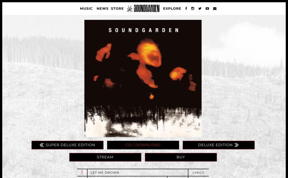 Official website for SoundgardenのWEBデザイン