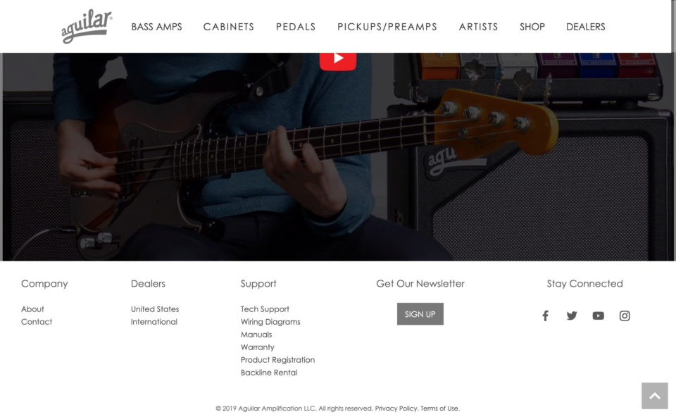 Aguilar Amplification – Get Amped!のWEBデザイン