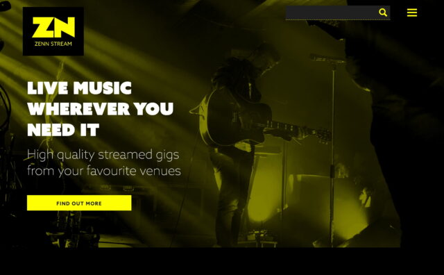 ZENN – Live music wherever you need itのWEBデザイン