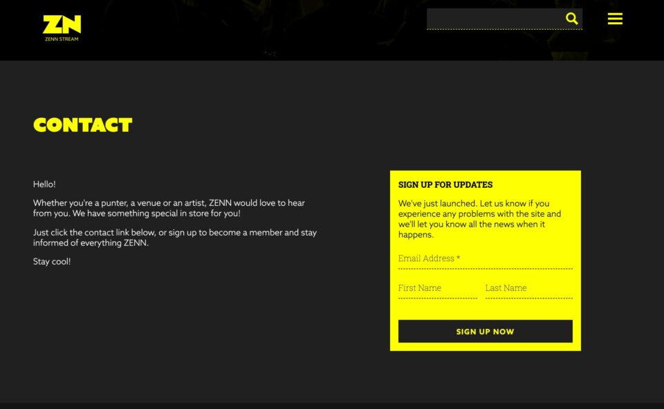 ZENN – Live music wherever you need itのWEBデザイン