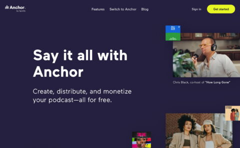 Anchor – The easiest way to make a podcastのWEBデザイン