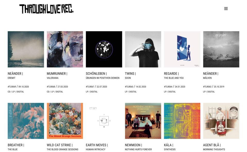 Through Love Records – independent Hamburg St. Pauli based diy record labelのWEBデザイン