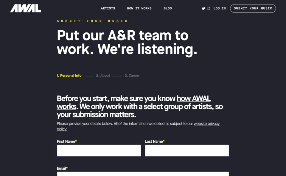 AWAL | Kobalt's Answer to the Traditional Record LabelのWEBデザイン