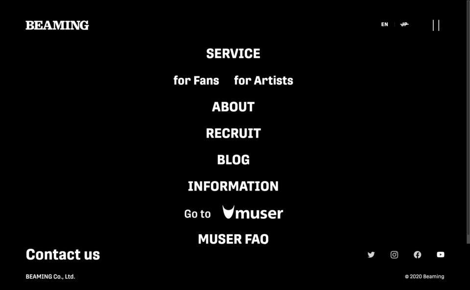 株式会社BEAMING|MUSERのWEBデザイン