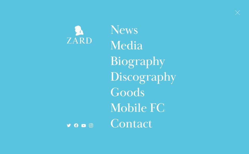 ZARD Official Website – WEZARD.netのWEBデザイン
