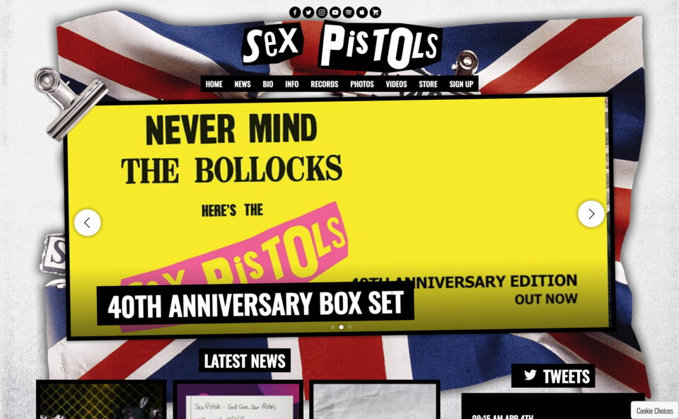 Sex Pistols | The Official WebsiteのWEBデザイン