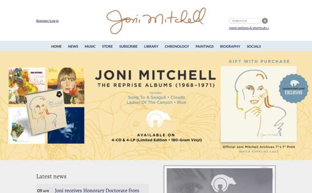 Joni Mitchell – Official WebsiteのWEBデザイン