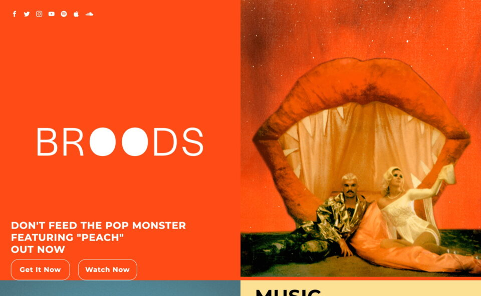 """Broods   New Album """"Don't Feed The Pop Monster"""" Out NowのWEBデザイン"""