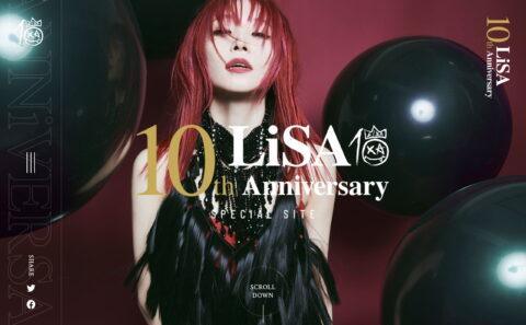 LiSA | 10th ANNiVERSARYのWEBデザイン
