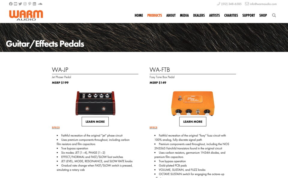 Warm Audio   Serious Gear . Seriously AffordableのWEBデザイン