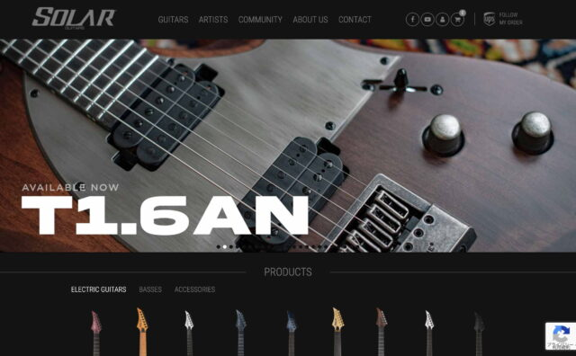 Welcome to the SOLAR GUITARS website !のWEBデザイン