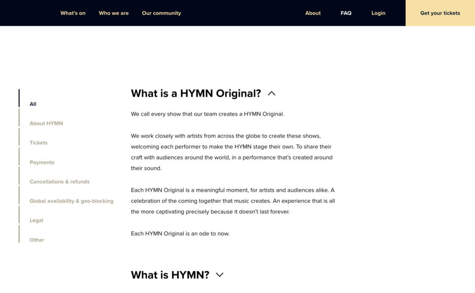 HYMNのWEBデザイン