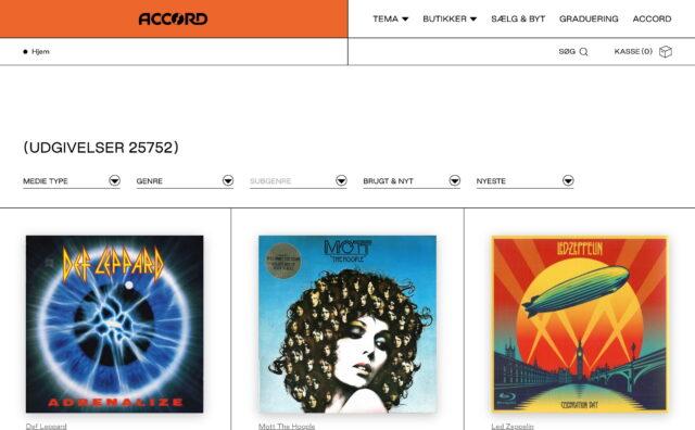 ACCORD – Danmarks største forhandler af brugt musik og film – AccordのWEBデザイン