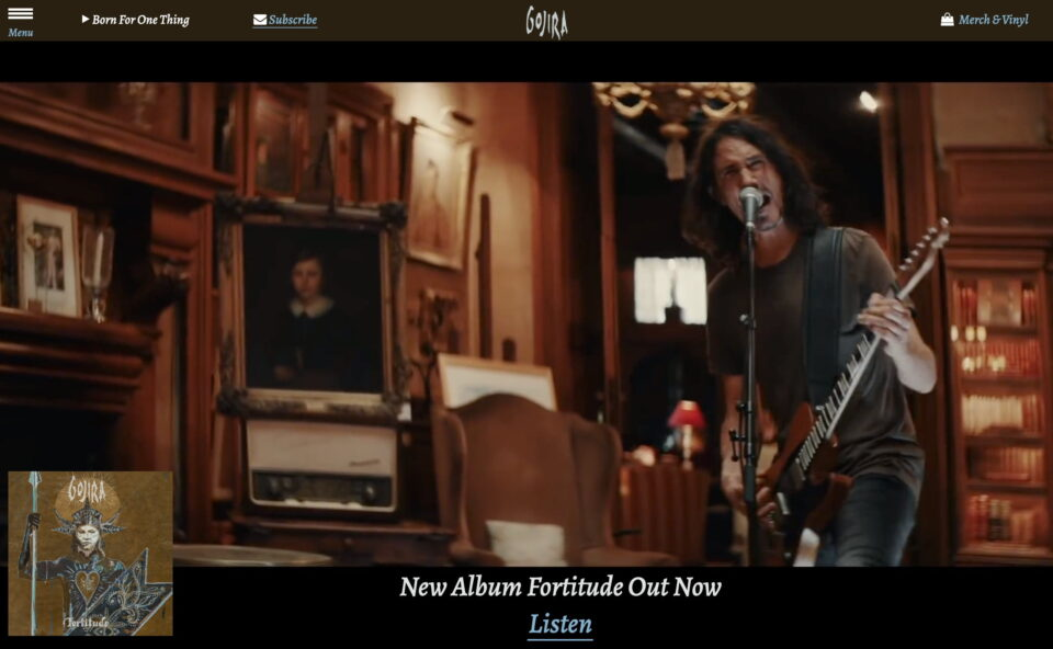 Gojira | Official WebsiteのWEBデザイン