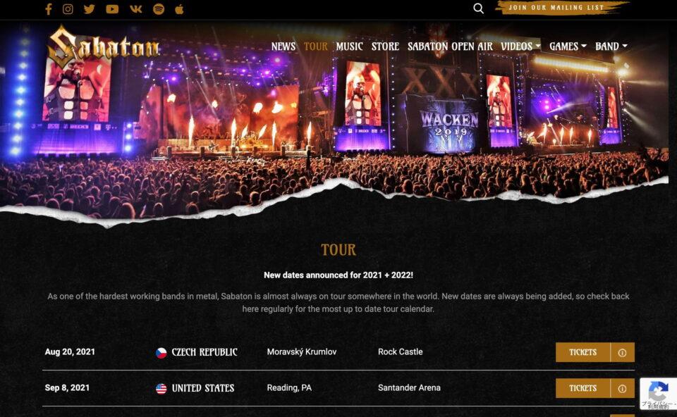 Sabaton | Official WebsiteのWEBデザイン