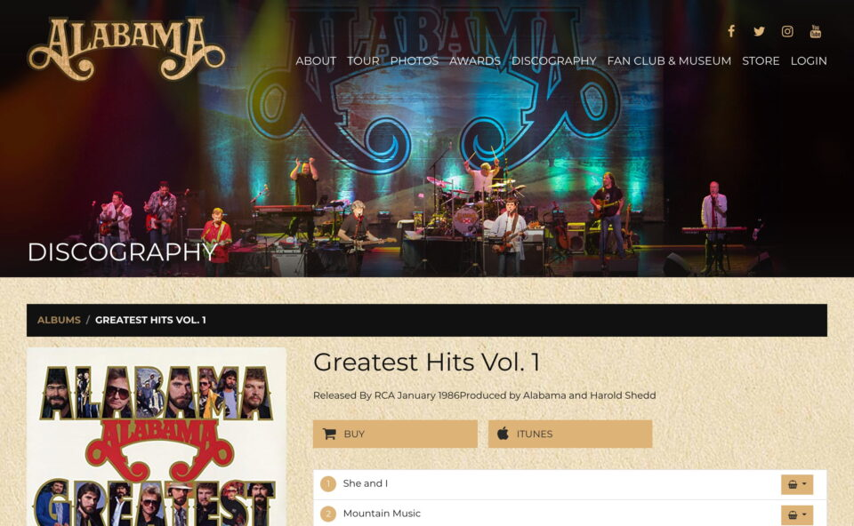 The Official Website of The Alabama BandのWEBデザイン