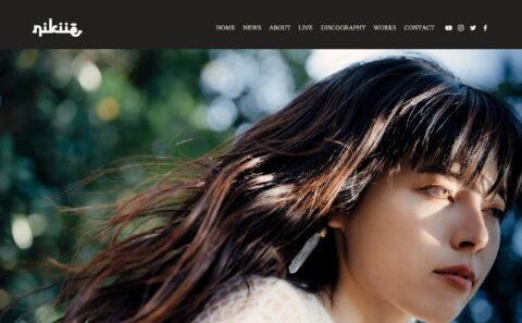 nikiie official website | singer song writerのWEBデザイン
