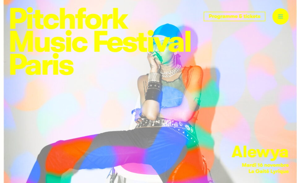 Pitchfork Music Festival Paris — Du 15 au 21 Novembre 2021のWEBデザイン