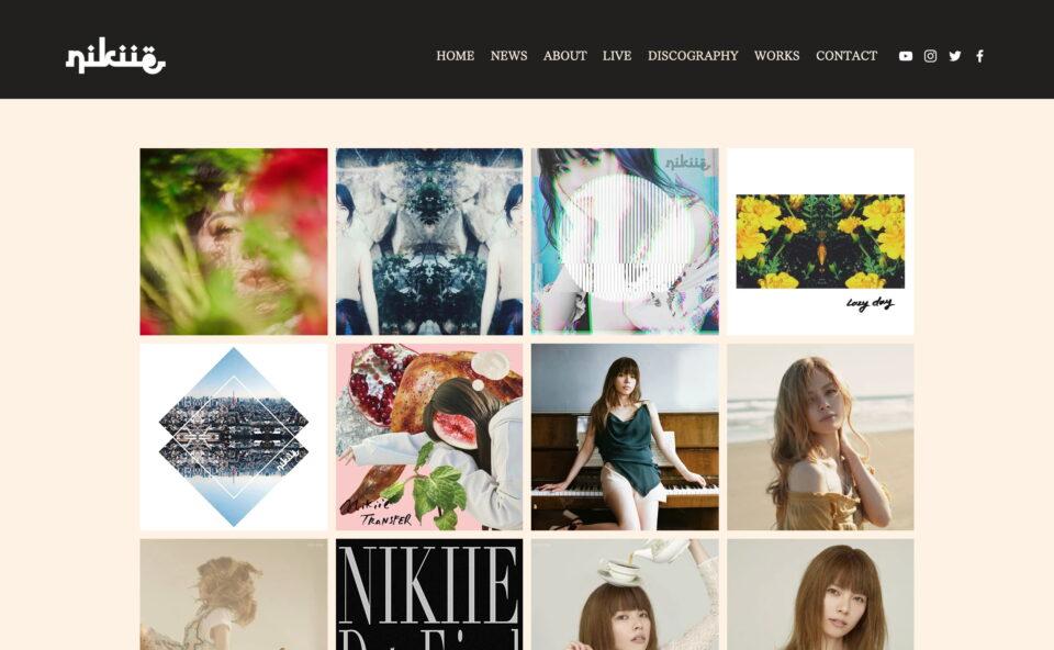 nikiie official website   singer song writerのWEBデザイン