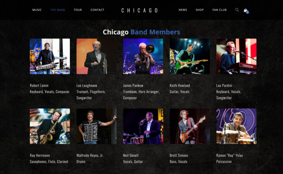 Chicago – A Legacy of Rock, Horns and HitsのWEBデザイン