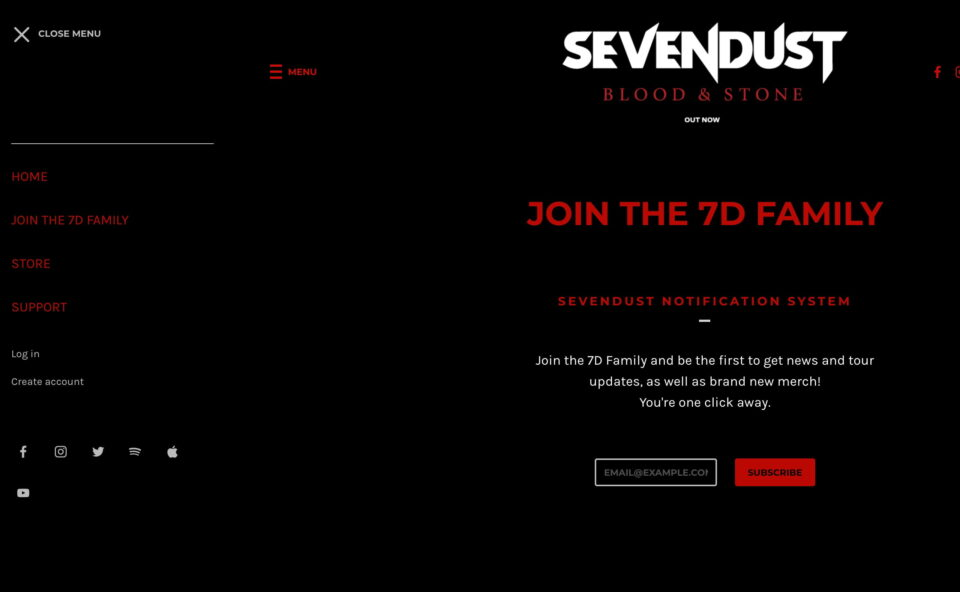 Sevendust | The Official WebsiteのWEBデザイン