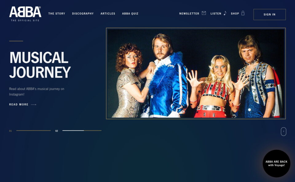ABBA I ABBA Voyage | The one and only ABBA Official FanclubのWEBデザイン
