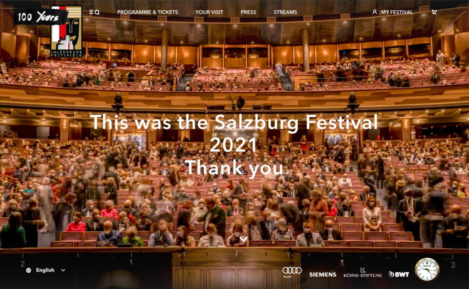 Salzburg Festival 2021 • Programme and tickets now available!のWEBデザイン