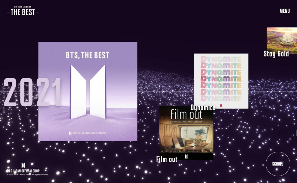 BTS JAPAN EXHIBITION -THE BEST- Special SiteのWEBデザイン
