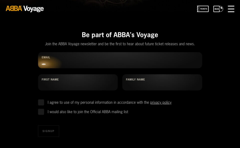 ABBA Voyage Official Website – 2022 ABBA Concert in LondonのWEBデザイン